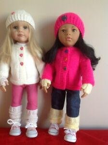 "Dolls Fashion clothes knitting  pattern. 18"" doll. Cardigan set to fit AG, Gotz"