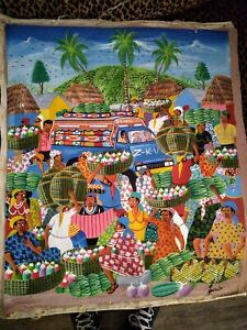 """Haitian Painting On Canvas, signed,  24"""" x 20"""" Unframed, market, taptap, people"""