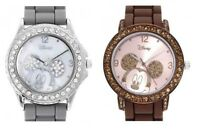NEW DISNEY MICKEY MOUSE SILICONE BAND+S/STEEL,MOP DIAL+CRYSTAL PAVE WATCH+BOX