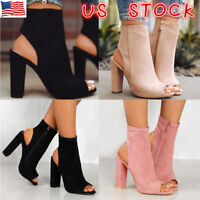 Womens Zipper Slingbacks Peep Toe Ankle Boots Ladies High Block Heel Shoes Size