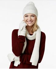 Charter Club Donegal 3pc Gift Set- Hat, Scarf & Gloves, Ivory (A2-05)