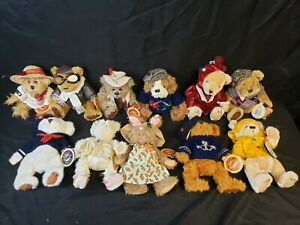 Lot of 11 Brass Button Bears 20th Century Collectibles Jointed Plush Dog Hare