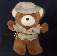 "16"" VINTAGE BROWN TEDDY PRECIOUS SAFARI HAT & COAT BEAR STUFFED ANIMAL PLUSH TOY"
