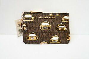 MICHAEL KORS NYC JST SM COINPOUCH ID HOLDER LEATHER WALLET MK BROWN YELLO TAXI