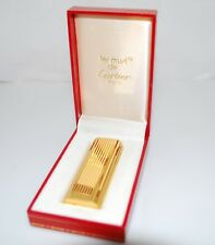 Vintage Cartier 18k Gold Plated Reeded Lighter w/ Box