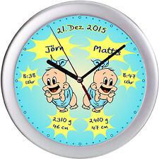 Geburtsuhr Wanduhr mit Geburtsdaten der Zwillinge als Geschenk zur Geburt Taufe