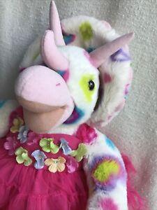 BAB Rainbow Dinosaur Triceratops With Pink Party Dress Plush Rainbow