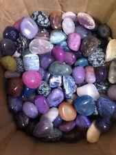 "Tumbled Stone 13 oz Mixed color sizes Large 1"" to 2"" natural & dyed Gemstones"