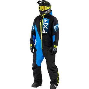 FXR Black/Blue/Hi Vis Recruit Lite Monosuit HydrX Pro Unsinsulated Snowproof