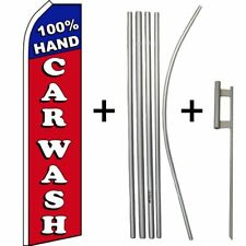 """100% Hand Car Wash"" Flag & 5 Piece Pole Set W/ Ground Spike"