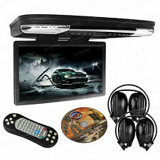 """HDMI 15.6"""" Monitor Coach Roof Mount Flip Down DVD USB Game Player IR Headsets"""