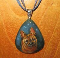 French Bulldog pendant Genuine Russian Hand painted Stone Gorbachova signed GIFT
