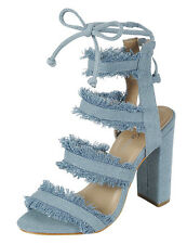 Women Strappy Cage Frayed Denim Open Toe Lace Up Chunky High Heel Pump Sandal US