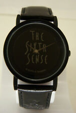 Classic Unisex The Sixth Sense Black Watch With Black Dial & Leather Band
