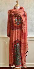 NEW - Peach Indian Block Print Hippy Cotton Goa Smock Kaftan Dress + Scarf Med