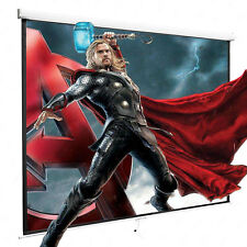 """100"""" 16:9 Projection Projector Screen Home Movie Manual Pull Down Matte White"""