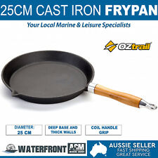 OZtrail 25cm Cast Iron Frypan Round Cookware Non Stick Skillet Frying Fry Pan