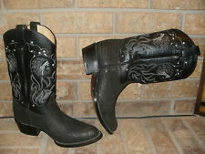 Black Bull Hide Western Boot Mens 9 M by Boots African / Mexico Excellent