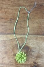 CHUNKY GREEN FLOWER LEATHER COSTUME NECKLACE