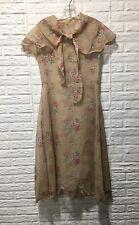 Vintage 1920s 30s Floral Dress Scallop Hem w/Shawl Capelet Sz S 34 Novelty Voile