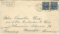 U.S., Scott #281 Pair, 5c Grant, on July 4, 1902 Cover, from NYC to Germany