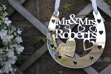Personalised Wedding Mr& Mrs Good Luck Horseshoe, Acrylic, bridal gift, keepsake