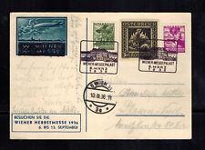 1936 Vienna Austria Messepalast Postcard Cover Zeppelin label