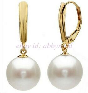 12mm White Round South Sea Shell Pearl  Earrings