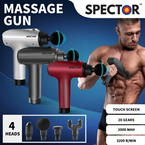 Spector Massage Gun Massager Muscle Percussion 4 Heads Tissue Therapy Vibrating
