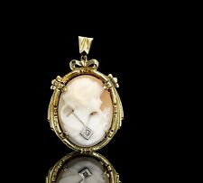 Pendant with Diamond Necklace Accent Vintage 14K Yellow Gold Cameo