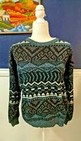 VTG Michael Gerald 80s 90s Ugly Knit Sweater Black White Cosby Retro Sz Large L