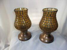 Foreside Brass Golden Amber Mosaic Hurricane Votive Candle Holders Lanterns x 2