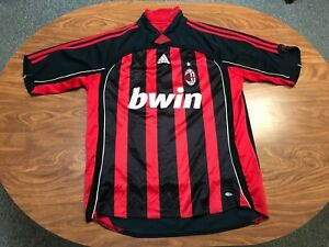 MENS USED VINTAGE ADIDAS ARSENAL RED & BLACK STRIPED SOCCER JERSEY SIZE XL