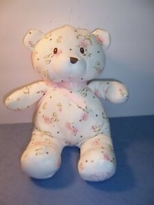 Gund Little Me - Vintage Rose Baby Teddy Bear - Soft White/floral print - NWOT