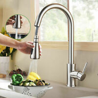 Brushed Nickel Kitchen Sink Swivel Faucet 1 Handle Pull Out Sprayer Mixer Tap