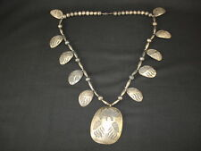 A Hopi Sterling Silver Bear Claw Necklace, Native American Indian