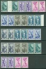 ITALY : 1955-57. Sassone #754-60. 4 Complete sets. All are VF MNH. Catalog €600.
