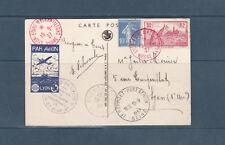 frb/ carte exposition poste aérienne Lyon 1937  vignette imprimée  aviation
