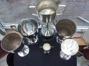 6 ASSORTED SILVER PLATED SPORTING TROPHIES AND STANDS ETC LOSS OF PLATE & KNOCKS