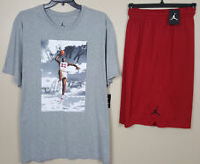 NIKE JORDAN DUNK FROM ABOVE SHIRT + SHORTS OUTFIT GREY RED RARE NEW (SIZE 4XL)