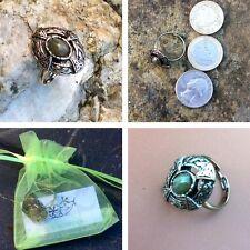Connemara marble gemstone antique silver celtic ring. Irish Scottish Jewelry
