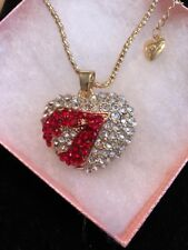 Betsey Johnson Necklace HEART Red LIPS Crystal Sexy FuN GIFT BOX