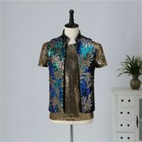 Mens Sequin Waistcoat Dance Show Fancy Dress Sleeveless Jacket Gilet Vests Retro