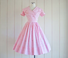 1950s Vintage Pink Gingham Princess Dress with Sailor Collar size Small