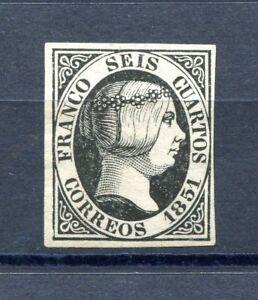 1851.ESPAÑA.EDIFIL 6P ( ) .nuevo.papel Grueso.certificado Cem.cat