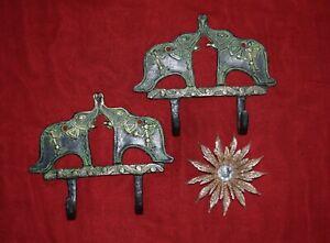 Brass Elephant Hook Pair Of Wall Hooks 2 In 1 Style With Tribal Man Art EK382