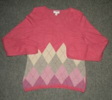 CHARTER CLUB PINK/GRAY/PURPLE  ARGYLE 100% CASHMERE SWEATER SIZE L FREE SHIP