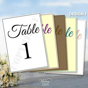 Wedding Table Number Cards ANY COLOUR Personalised Names & Date / Top table