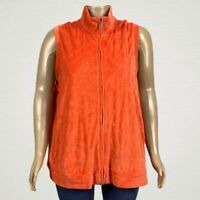 Quacker Factory Sparkle Studded Quilted Velour Zip Vest 2X PLUS Orange Pockets