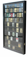 Large 90 Sport Zippo Lighter Display Case Wall Cabinet Shadow Box LC06-BLA